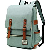 MANCIO Slim Laptop Backpack with USB Charging Port,Vintage Tear Resistant Business Bag for Travel, College, School, Casual Daypacks for Man,Women, Fits up to 15.6Inch MacBook, Green