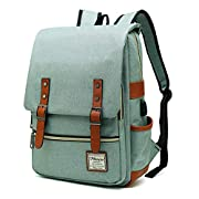 MANCIO Slim Laptop Backpack with USB Charging Port,Vintage Tear Resistant Business Bag for Travel,College, School, Casual Daypacks for Man,Women, Fits up to 15.6Inch MacBook, Green
