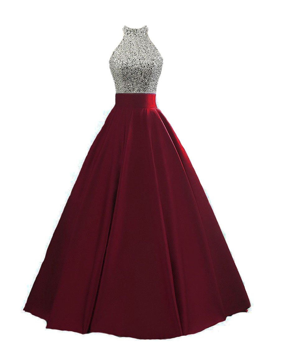 HEIMO Women's Sequined Keyhole Back Evening Party Gowns Beaded Formal Prom Dresses Long H123 8 Burgundy