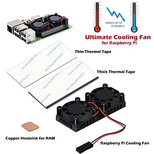 Raspberry-Pi-Fan-iUniker-Raspberry-Pi-Heatsink-Fan-Dual-Fan-and-RAM-Copper-Heatsink-for-Raspberry-Pi-3-Raspberry-Pi-2Raspberry-Pi-B-2-Pack-Thermal-Tape