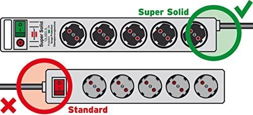 Brennenstuhl Super-Solid Line Regleta de 5 tomas negro/gris claro con interruptor, 1153380115
