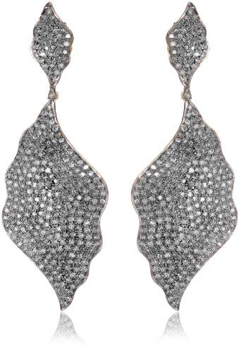 "Fine Jewelry by Kevia ""Byzantium"" Wave Drop Diamond Earrings"