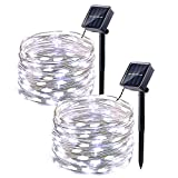 Icicle Solar String Lights - 2 Pack 33ft 100 LED Waterproof Fairy Copper Wire Starry String Lights for Christmas - Patio - Lawn - Garden - Wedding - Party and Holiday Decorations (Cool White)