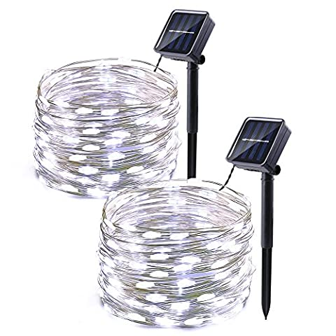 Icicle Solar String Lights, 2 Pack 33ft 100 LED Waterproof Fairy Copper Wire Starry String Lights for Christmas, Patio, Lawn, Garden, Wedding, Party and Holiday Decorations (Cool - Christmas Lawn Lights