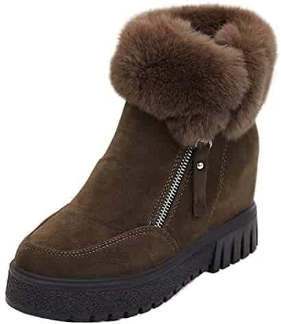 3b1f2a37708 Fashion Women Suede Rabbit Fur Ankle Snow Boot Hidden Wedge Hi Top Elevator  Shoe