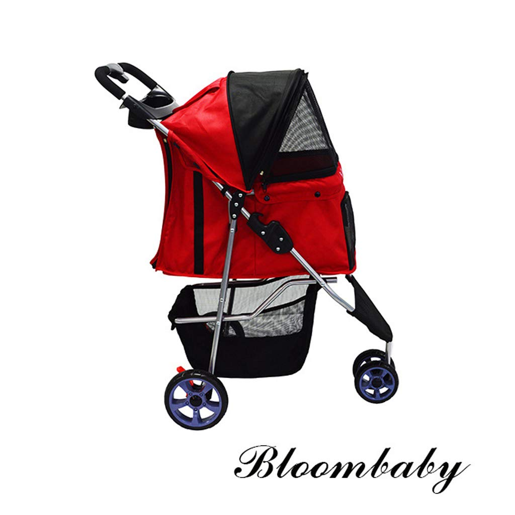 Red Pet Trolley Pet Dogs and Cats Travel Stroller Jogger Stroller Tricycle Trolley Puppy (color   Red)
