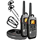 Uniden GMR5089-2CKHS Submersible 50 Mile FRS/GMRS Two-Way Radios w/ Charging Kit. Lightweight, Rugged, Waterproof JIS-7, Floats for Easy Retrieval. Includes 2 Headsets and 2 Gear Clips. Dark Grey Color.