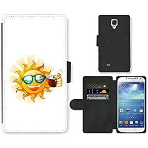 Hot Style Cell Phone Card Slot PU Leather Wallet Case // M99999562 Funny Sun Tropical Island Cartoon // Samsung Galaxy S4 S IV SIV i9500