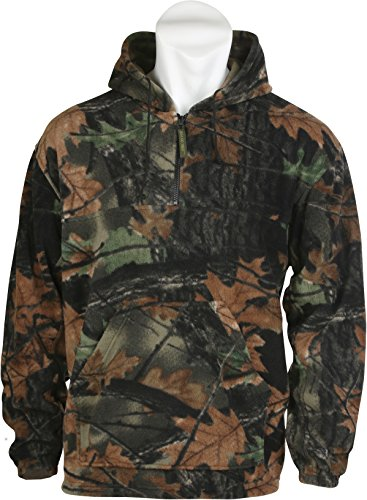 Trail Crest Fleece Hunting Camouflage 1/4 Zip Hooded Sweatshirt (XL, Camo) Camouflage Hooded Sweatshirt