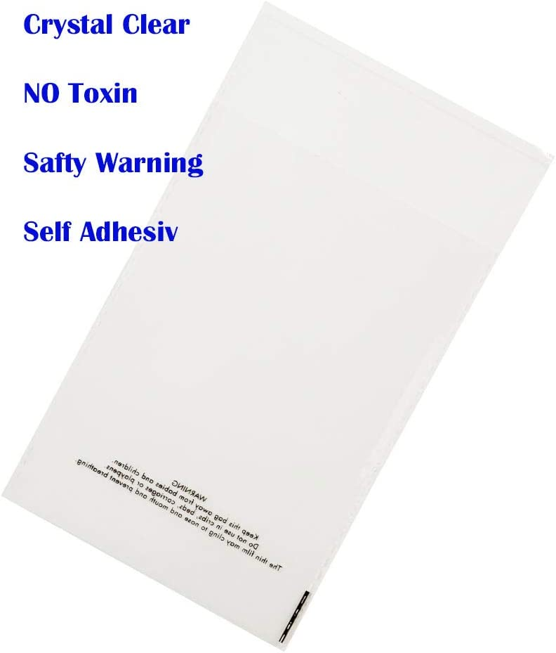"""200 Pieces Self Seal Suffocation Warning Sign for FBA Packing,Decorative Wrappers and More 4/"""" X 6/"""" 1.4 mils Clear Resealable Cello Bags"""