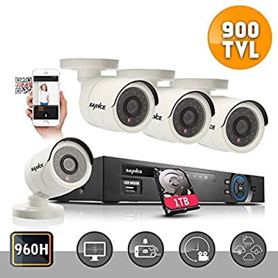 ANNKE 8-Channel 720P Security System 1080N Video DVR with 1TB Surveillance Hard Disk Drive and (4) 1.0MP 1280TVL Weatherproof Cameras with IR-cut Night Vision LEDs