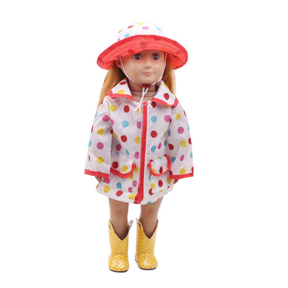 Wenini Hat Raincoat Clothes Suit for 18 Inch American Girl Doll Accessory Girl's Toy (Multicolor)