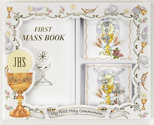 My First Holy Communion Gift Set for Girls with Mass Book, White Prayer Bead Rosary, and Chalice Lapel (Lapel Bead)