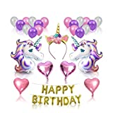 clear&sky Unicorn Birthday Party Decorations,Fiesta Party Favors Decor Supplies Set with Glittery Unicorn Headband and Large Magical Unicorn Foil Birthday Banner Balloons