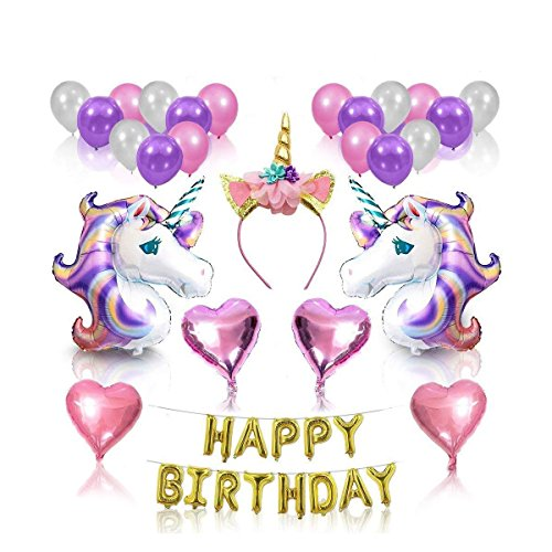 Unicorn Birthday Party decorations,fiesta Party Favors Decor Supplies Set with Glittery Unicorn Headband and Large Magical Unicorn Foil Birthday Banner Balloons