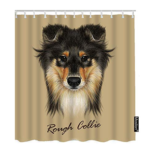 Moslion Dog Shower Curtain Set Cute Collie Face of Mahogany Sable Rough Collie Or Shetland Sheepdog Shower Curtains Home Decorative Waterproof Polyester Fabric Hooks 72x72 Inch Brown
