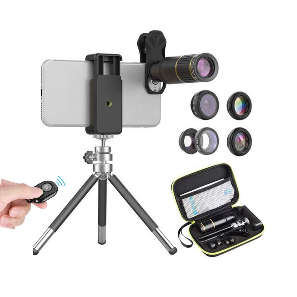 APEXEL 6 in 1 Handy Kamera Objektiv Kit,16X-Teleobjektiv+198/°Fisheye-Objektiv+0,63X-Weitwinkel/&15X-Makroobjektiv+Kaleidoskop+CPL  mit ausziehbarem Stativ f/ür iPhone Samsung und die meisten Smartphone