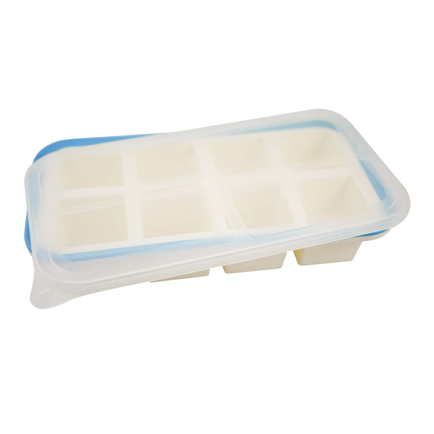 Superb Cube 2 Inch Cube Silicone Ice Cube Tray with EZ-Release & No-Spill Steel Reinforced Rim - Makes 8 Cubes with Clear Lid