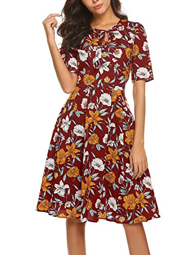 ACEVOG Women's Casual Short Sleeve Floral Printed Fit and Flare Party Dress, Red, S