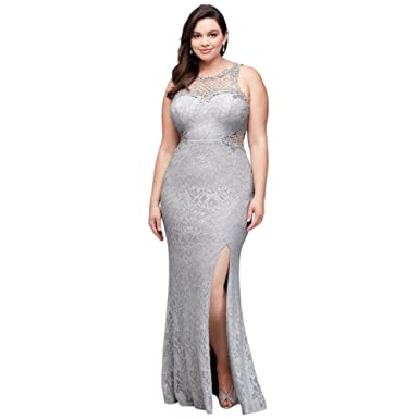 Davids Bridal Glitter Lace Plus-Size Prom Dress with Geometric Neck Style 3930SE3W, Silver