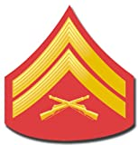 US Marine E-4 Corporal Red/Gold Chevron Rank Insignia Decal Sticker 3.8