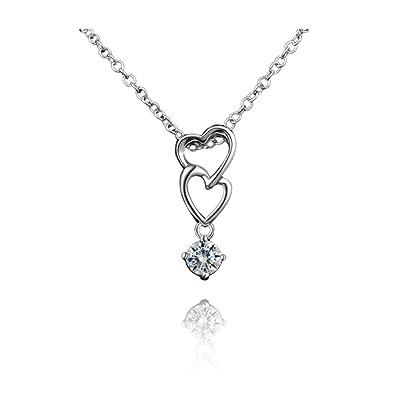 Amberma Argent sterling 925Collier pendentif Oxyde de Zirconium clair, bijoux, cadeaux pour femme Filles