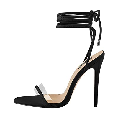 Onlymaker Women's Ankle Strap Lace up Clear Band Gladiator High Heels Open Toe Stiletto Sandals | Heeled Sandals