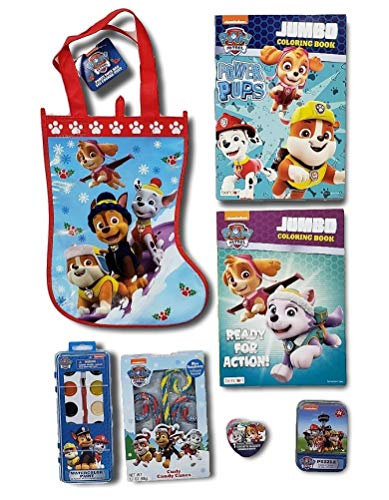 Paw Patrol Treat Bag Bundle; Stocking Treat Bag with 6 Items to Fill it! Stickers, Coloring Books, Crayons and Candy ()