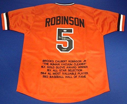Brooks Robinson Signed Baltimore Orioles Baseball Stat Jersey