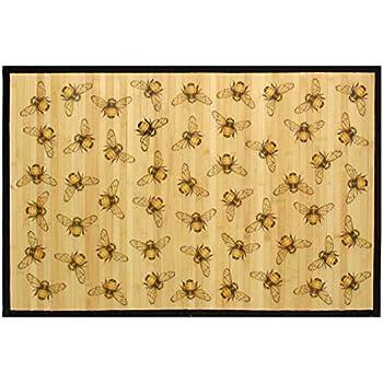 Amazon Com Laser Printed Split Bamboo 2 X3 Veranda Mat Honeybee