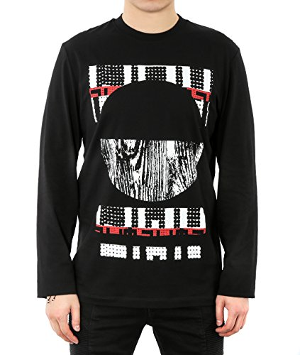 Wiberlux Alexander Mcqueen Men's Geometric Print Long Sleeve T-Shirt XL Black by Wiberlux