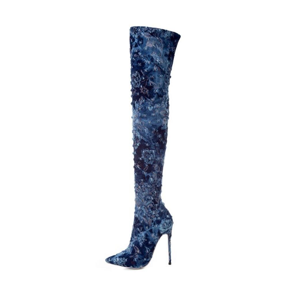 Damen Neue Mode Über Knie Schenkel Boot Lange Stiefel Schuhe Spitze Zehe Stiletto High Heel Schuhe Stiefel Denim Herbst Winter Blau 13f2a4