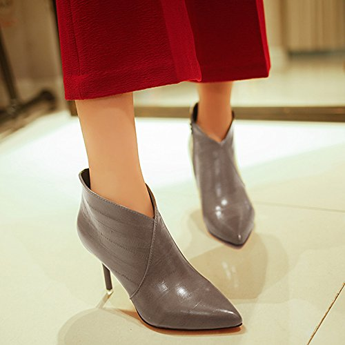 GAOLIM Winter Boots Women Shoes Side Zipper Short And High-Heeled Shoes And Boots Fine With Paint Wine Red Grey
