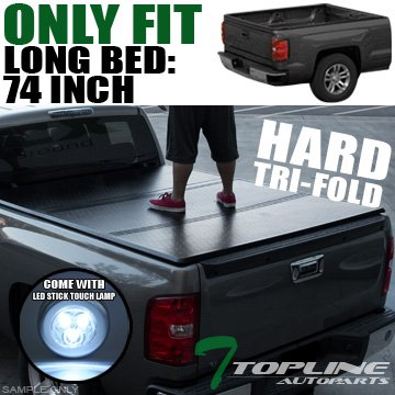 Super Cab 6' Box - Topline Autopart Solid Tri-Fold Tri Fold Hard Tonneau Truck Topper Cap Cover Trunk Lid Kit With LED Stick Touch Lamp JR For 04-12 Chevy Colorado / GMC Canyon Regular / Extended Cab 6 Feet 72