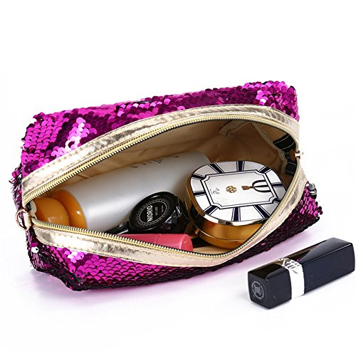 Damen Multifunktional Pailletten Geldbörse ,Reise Schminktasche Geldbeutel Kosmetiktaschen Schminke Mäppchen (Blau) Schwarz