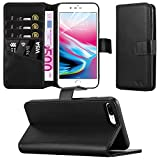Apple iPhone 8 Plus Case - Combines 3 Card Design and Magnetic Closing clasp Card Case Cover Premium Leather with Screen Protector, Microfibre Polishing Cloth (Black)