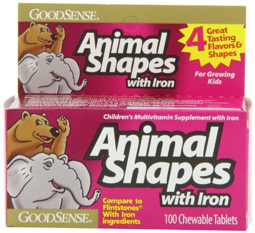 Хорошее чувство Животное формирует жевательные витамины с железом, 100-счетчик