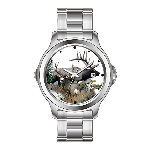 FDC Christmas Gift Watches Men's Fashion Japanese Quartz Date Stainless Steel Bracelet Watch Bull elk and buck -