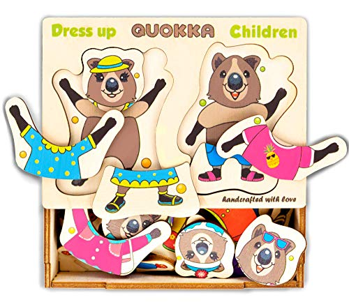 Wooden Bear Family Dress-up Puzzle, Quokka Wild Animals Kids, 36 Pieces, Peg Puzzles, Matching Activities, Puzzle for Toddlers 3 Years, Storage Box, Made in Europe
