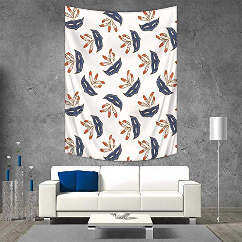 Masquerade Tapestry Wall Tapestry Party Mask Mid-Century Disguise Night Costume Event Illustration Print Art Wall Decor 51W x 60L INCH Cream and Bluegrey