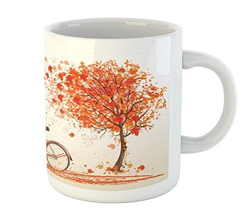Ambesonne Bicycle Mug, Autumn Tree with Aged Old Bike and Fall Tree November Day Fall Season Park Nature Theme, Printed Ceramic Coffee Mug Water Tea Drinks Cup, Orange