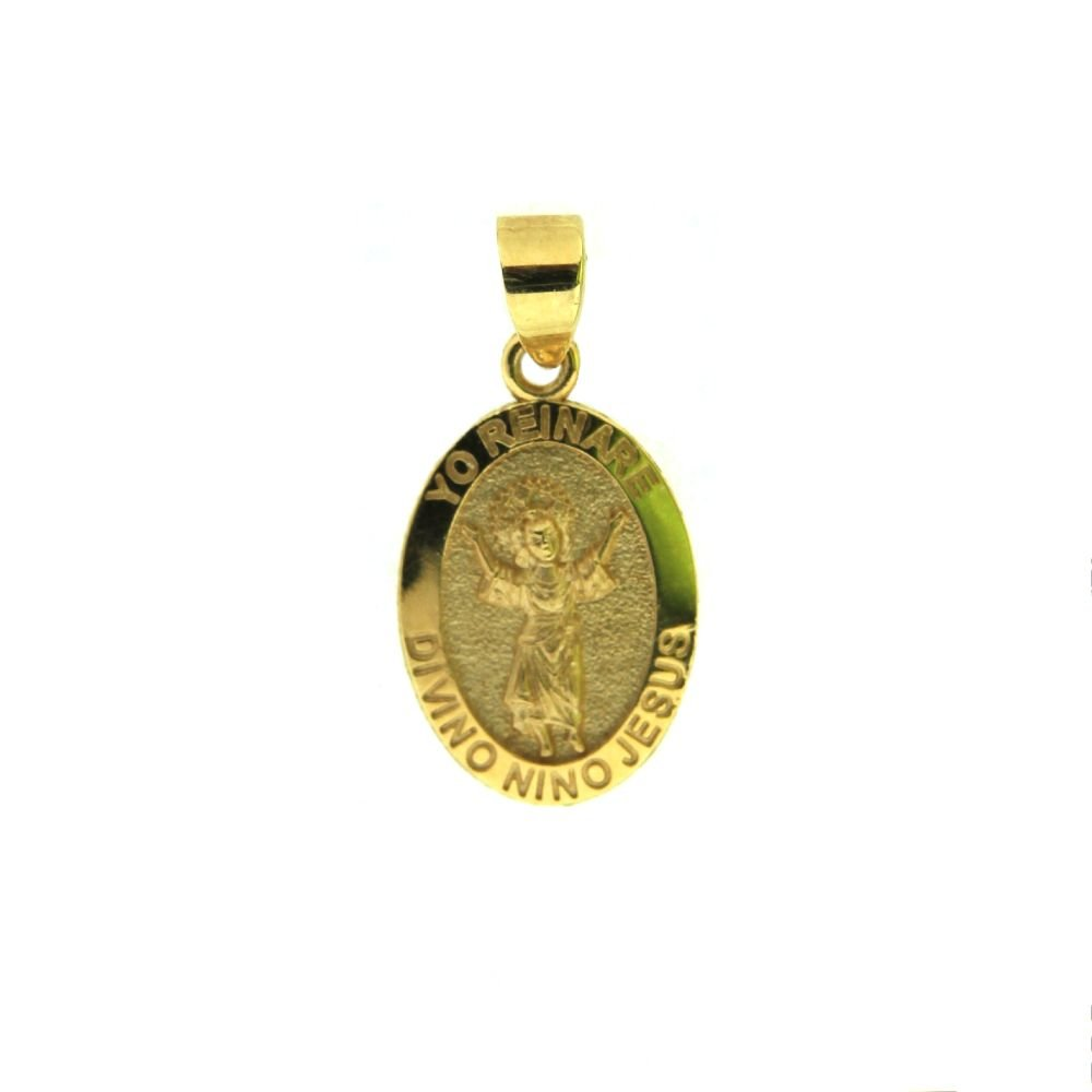 18 K yellow gold Divino Nino medal 15mm/0.59 inch, with bail 22mm/ 0.86 inch