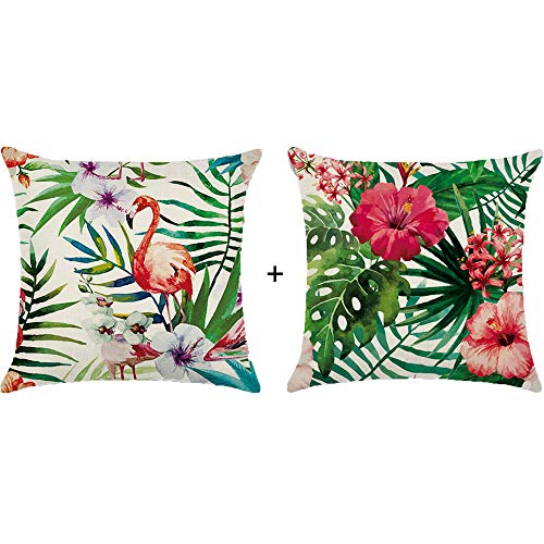 Hawaiian Luau Party Decorations Flamingo Tropical Flower Palm Leaves Throw Pillow Covers Cotton Linen Decorative Cushion Covers 18 X 18 Inch,2Pack