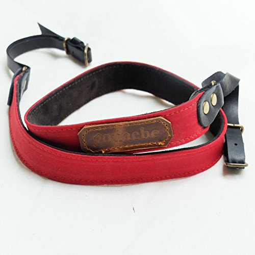 Handmade Waxed Canvas and Leather Camera Strap (Red) by Gouache Bags