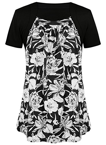 Tunic Top Set - sanatty Women's Floral Pleated Front Tunic Top Faux Twinset Shirt