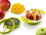 Gourmia GCU9250 3 In 1 Handle Push Cutter, Mango, Apple Slicer & Corer With Bonus French Fries Blade, 3 Stainless Steel And Interchangeable Blades, Durable BPA free food safe material