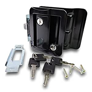RV Travel Trailer Entry Door Lock Polar Black Paddle