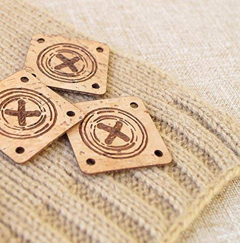 25 pc custom clothing labels made from vegan eco friendly sustainable cork leather personalized leather labels Round cork leather labels