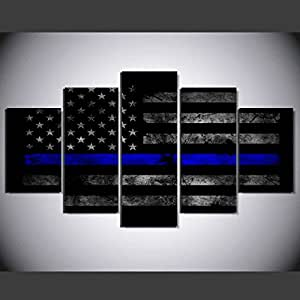 [LARGE] Premium Quality Canvas Printed Wall Art Poster 5 Pieces / 5 Pannel Wall Decor USA Thin Blue Line Flag Painting, Home Decor Pictures - With Wooden Frame