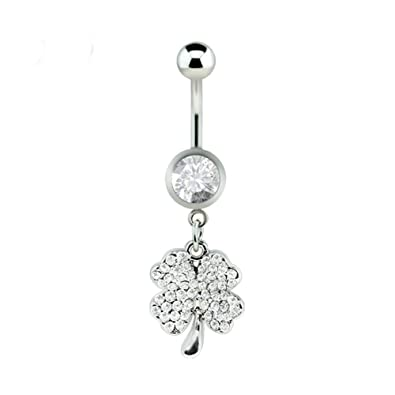 fb0dd93a6 Amazon.com: Dynamique Gem Paved Four Leaf Clover Dangle 316L Surgical Steel  Belly Button Ring: Jewelry